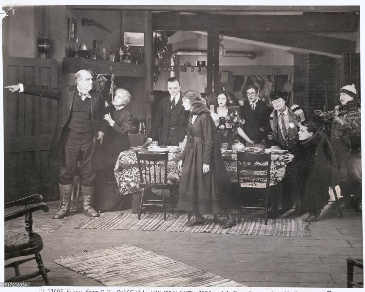 Scene from D.W. Griffith's Way Down East, 1920, with Kate Bruce, Lowell Sherman, Lillian Gish, Mary Hay, Creighton Hale and Richard Barthelmess.