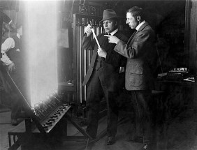 Billy Bitzer and DW Griffith analyzing film - editing