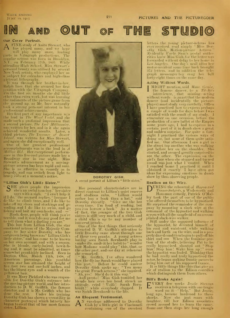 Pictures and the Picturegoer (June 1915) Dorothy Gish