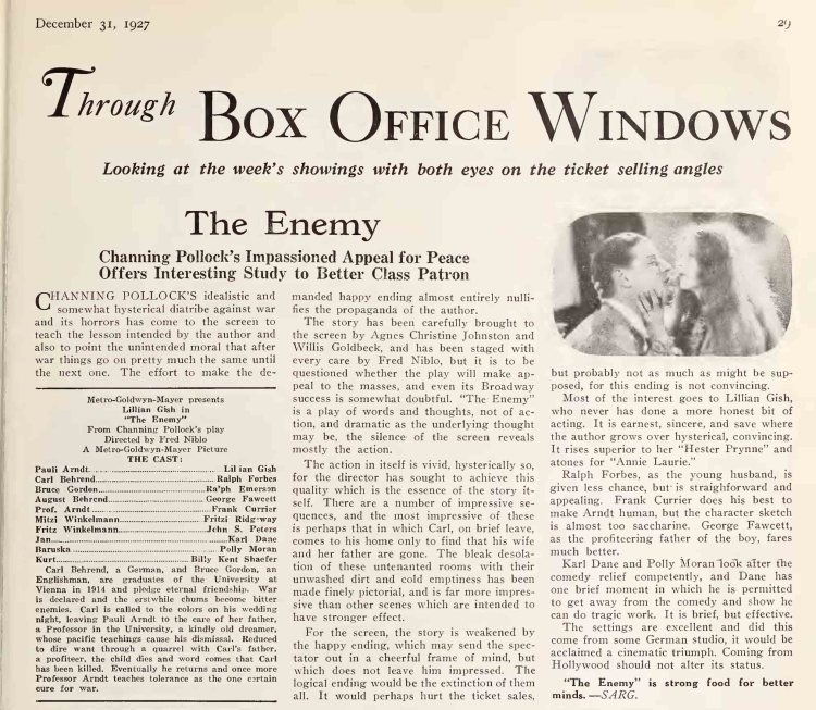 Moving Picture World (Dec 31 1927) The Enemy