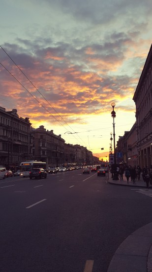 Sunset at Nevsky Prospect in St Petersburg