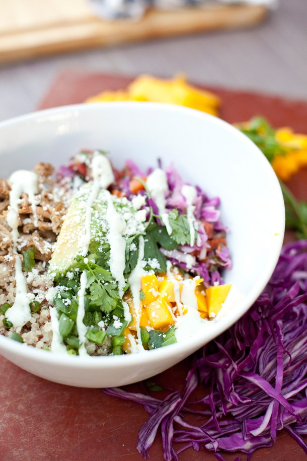 Crispy Carnitas Quinoa Bowl