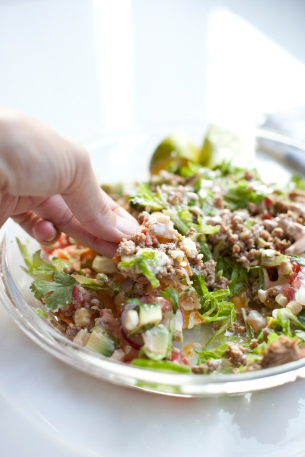 Healthy lightened up DECKED OUT nachos