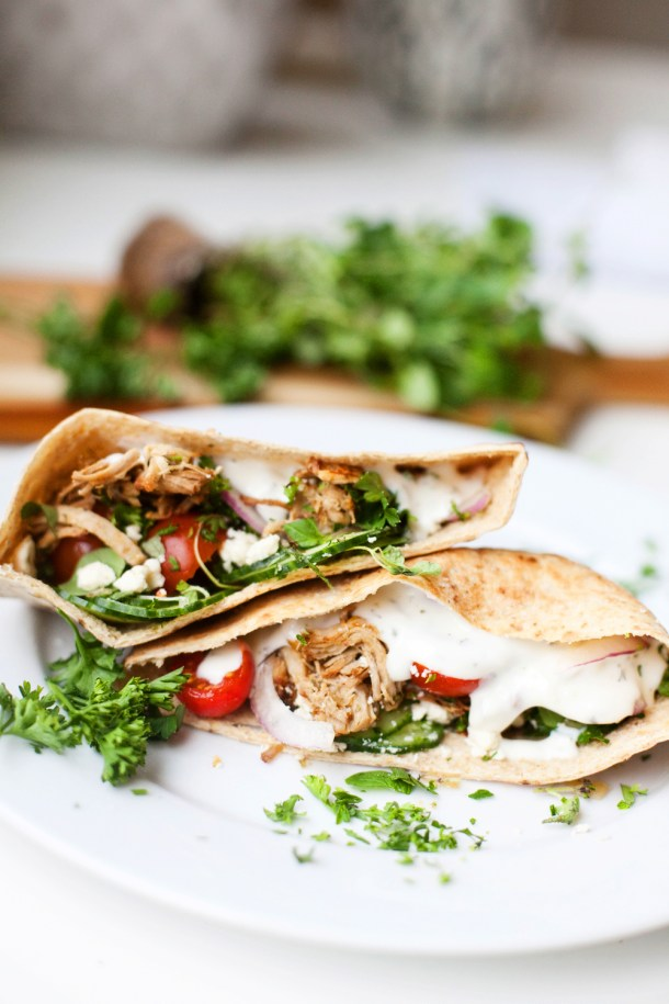 Low Carb Shredded Greek Pork Pita