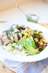 Cauliflower Rice, Mango, Chicken Bowl with Light Chimichurri