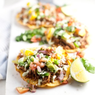 Tostadas with THE BEST Slow Cooker Salsa Verde Carnitas
