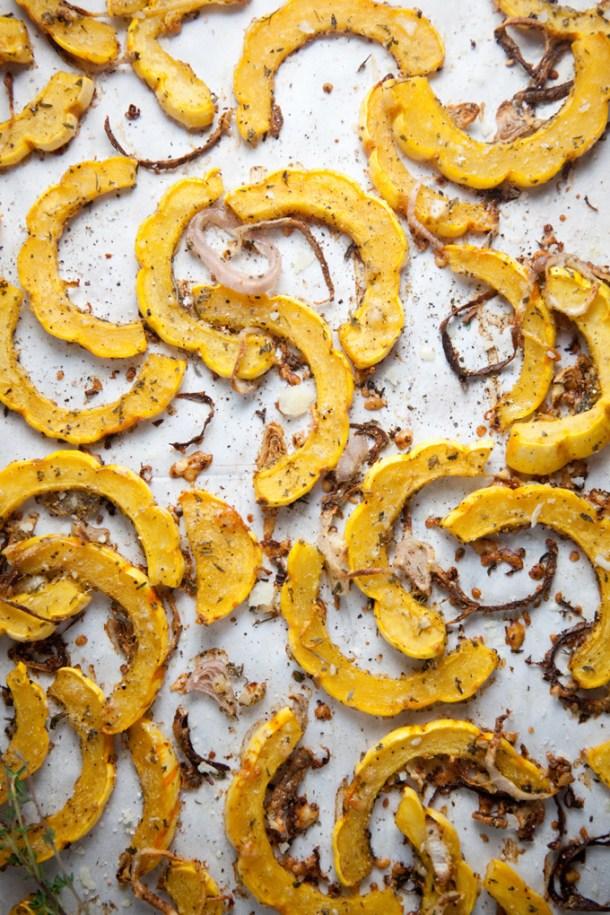 Lemon Parmesan Roasted Delicata Squash