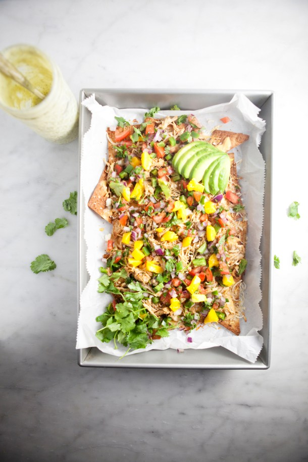 A totally macro-friendly personal 9x13 of Nachos for 575 calories!