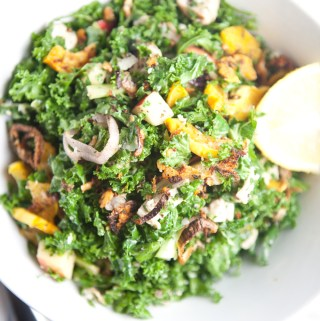 Chopped Kale Salad with Roasted Delicata Squash and Crispy Shallots