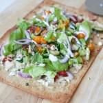 Macro Friendly greek flatbread pizza www.lillieeatsandtells.com