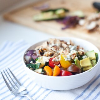 Macro- friendly rainbow bowl with roasted veggies and blue cheese www.lillieeatsandtells.com