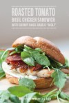 chicken sandwich with arugula with text overlay