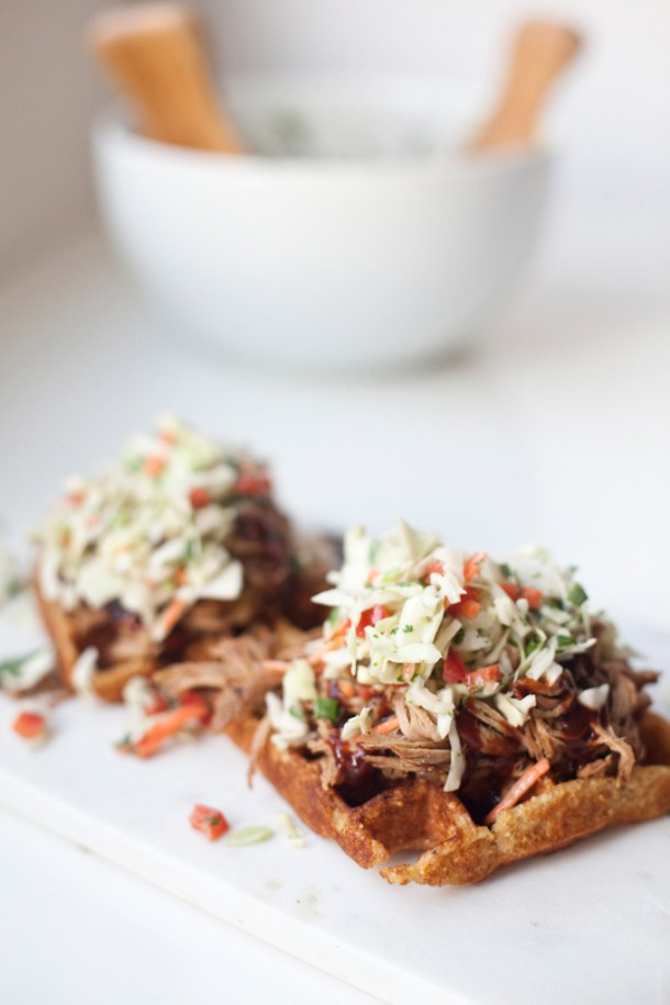 BBQ Pulled Pork and Lighter Cornbread Waffles www.lillieeatsandtells.com