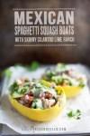Stuffed spaghetti squash boats with text overlayl