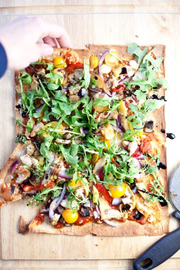 Chicken, Veggie, and Feta Lavash Pizza www.lillieeatsandtells.com