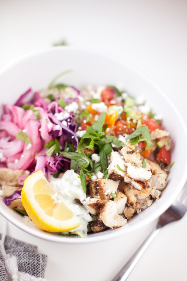 Mediterranean Grain bowl - copycat Cava #macrofriendly #healthy #mediterranean #greek www.lillieeatsandtells.com