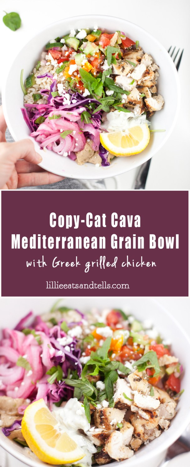 Copy Cat Cava Mediterranean Grain Bowl #healthy #macrofriendly #Greek www.lillieeatsandtells.com
