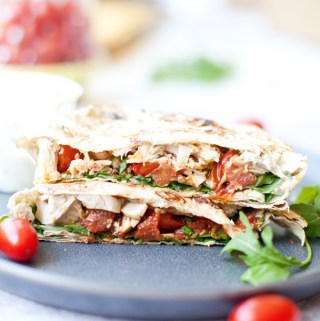 Blistered Tomato Basil Rotisserie Chicken Crunch Wrap www.lillieeatsandtells.com #macrofriendly #macrofriendlyrecipes #cookinglight #healthyrecipes