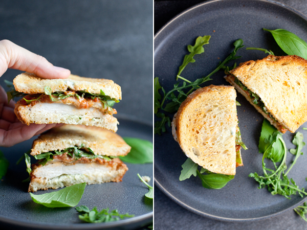 Two shots of chicken parmesan sandwich on plate