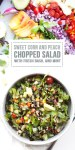 Bowl of colorful chopped veggies with title of salad