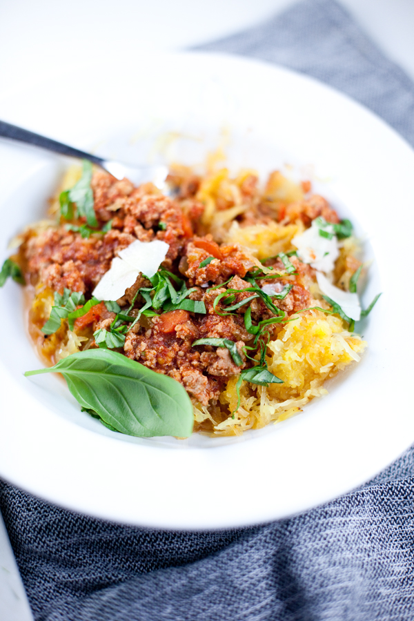 spaghetti squash with healthy turkey bolognese