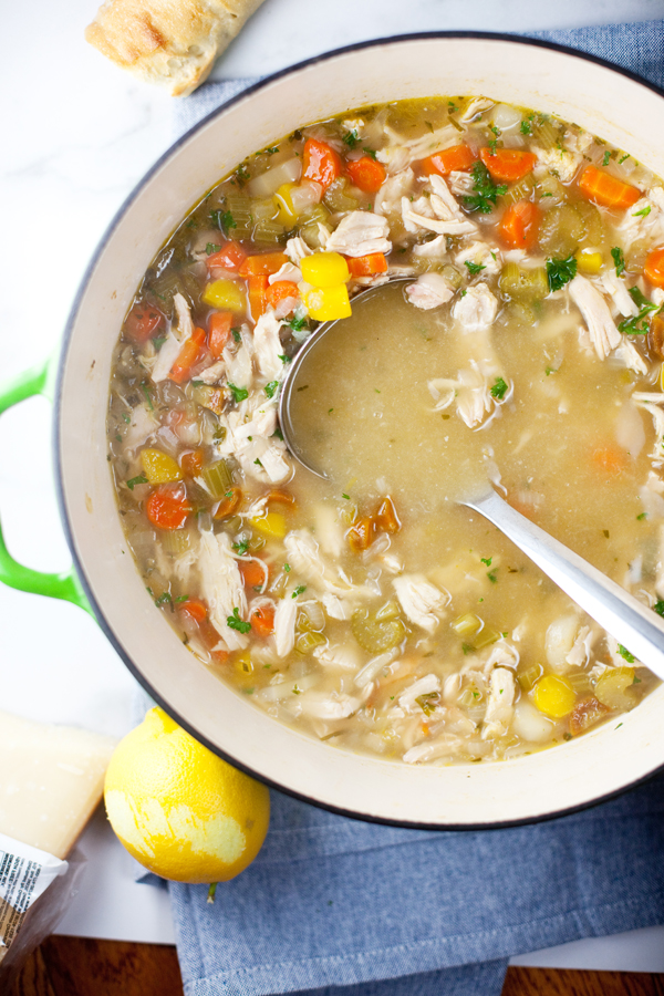 Pot of lemony chicken soup