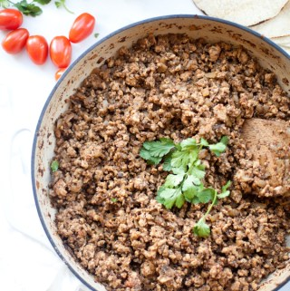 This mushroom turkey taco meat is great by itself or on a tortilla with your favorite toppings. www.lillieeatsandtells.com
