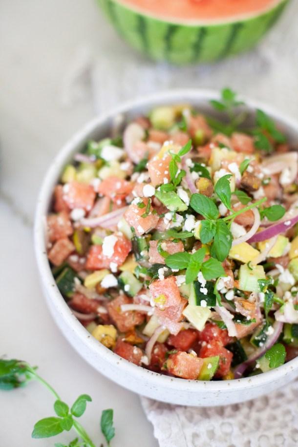 fresh watermelon cucumber salad with feta www.lillieeatsandtells.com