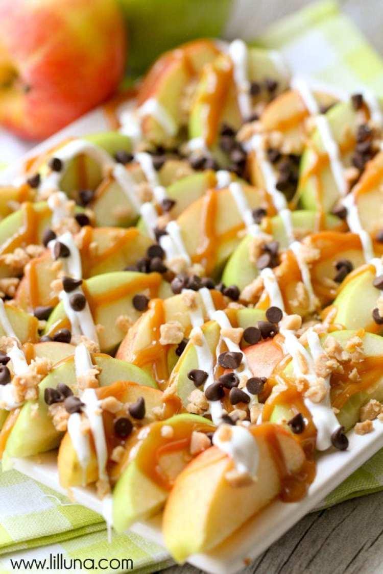 healthy snack ideas for work, homemade snacks list, caramel apple nachos