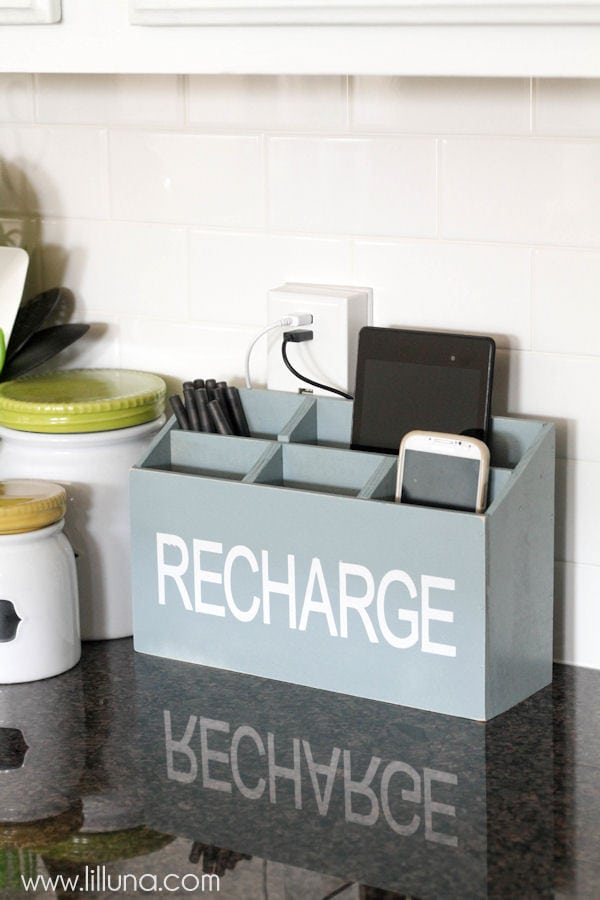 Guest Bedroom Inspiration iPhone Charger Android iPad Outlet Plug Recharge DIY Charging Station Desk