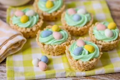 Rice Krispie Easter Treats - Nests on checkered towel