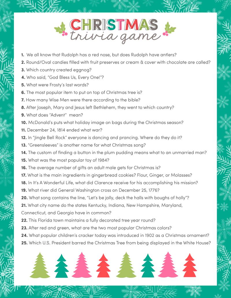 Free Christmas Trivia Game Lil Luna