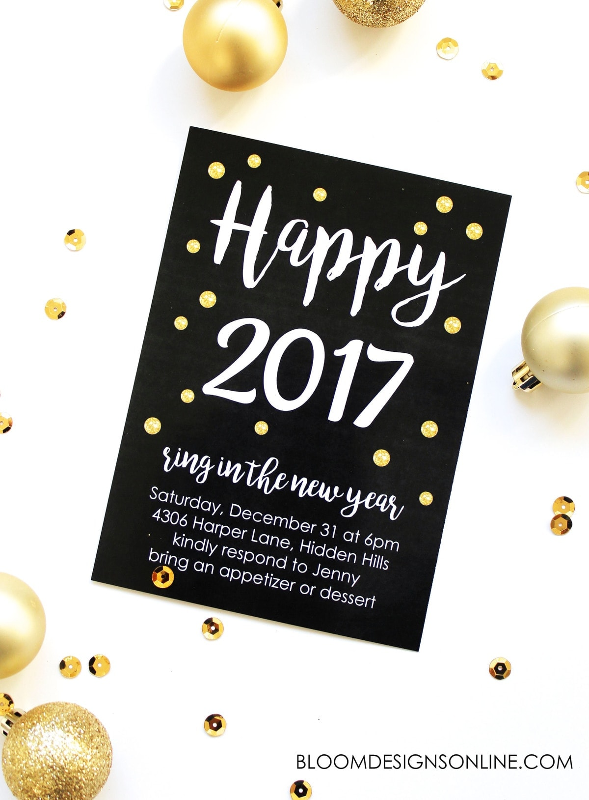 Editable New Year s Invitations   Lil  Luna A great party starts with a great invitation  Use this Editable New Year s  Invitation to