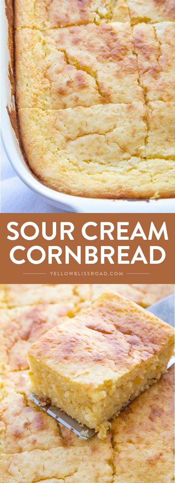 Sour Cream Cornbread Recipe Lil Luna