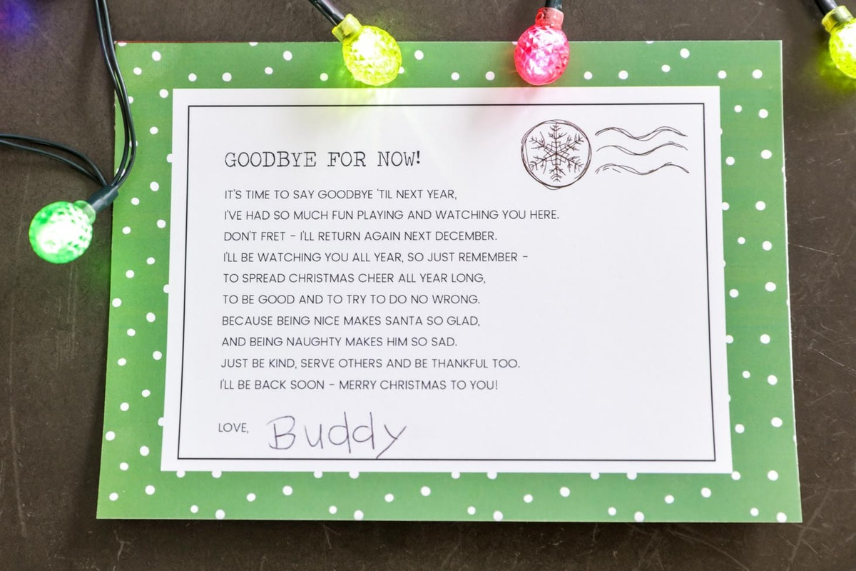 Elf On The Shelf Goodbye Letter Free Printable That Are