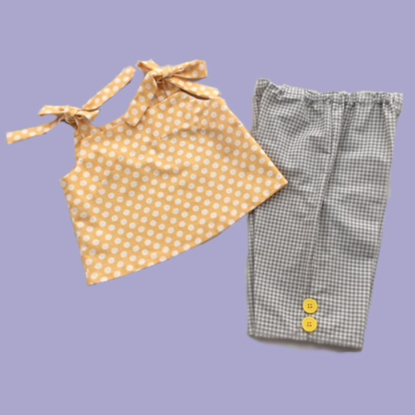 Yellow dots and Grey Checks Clam Digger Set
