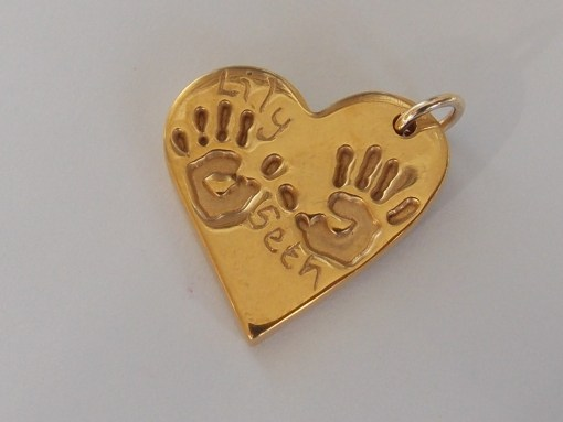 Golf plated hear finger hand foot paw print solid silver pendant charm