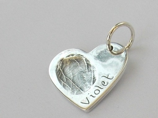 Heart finger hand foot paw print solid silver charm