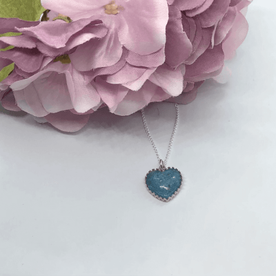 Agean Blue Cremation Ash Resin Crown Point Necklace Pendant