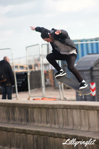 Leaping over at brighton seafront