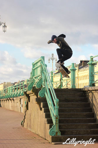 Leap trick by skater on Brighton Seafront