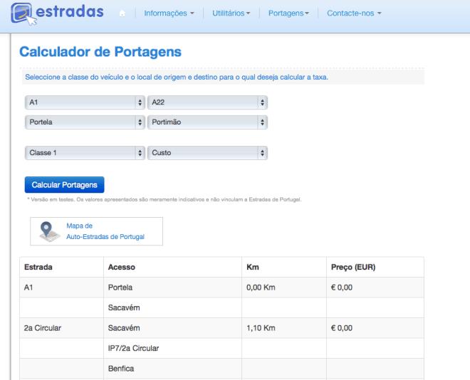 calcolare tariffe autostrada portogallo