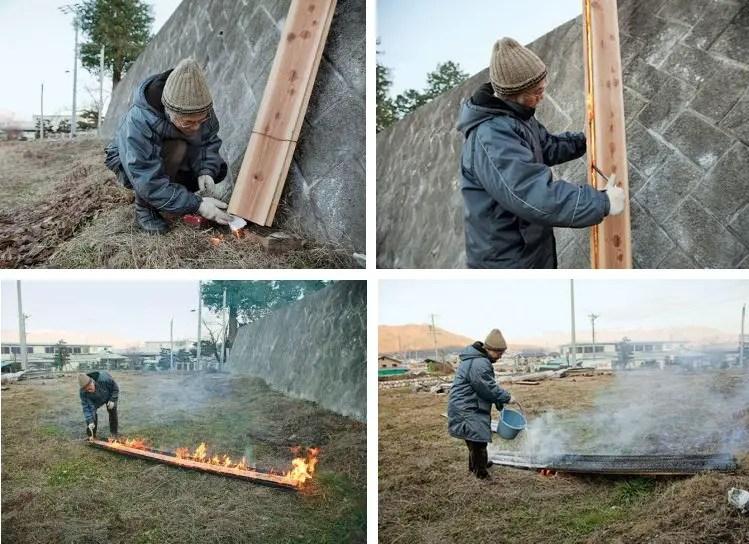 Etapes de fabrication traditionnelle du bois brûlé