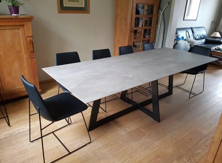 table céramique sur-mesure pieds metal