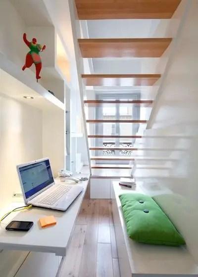 aménagement d'un petit espace, bureau sous escalier
