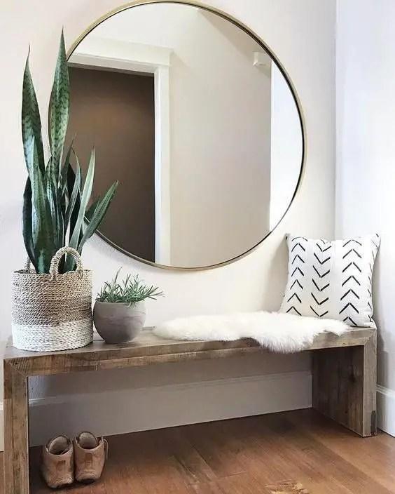 aménagement d'un petit espace, miroir rond XXL