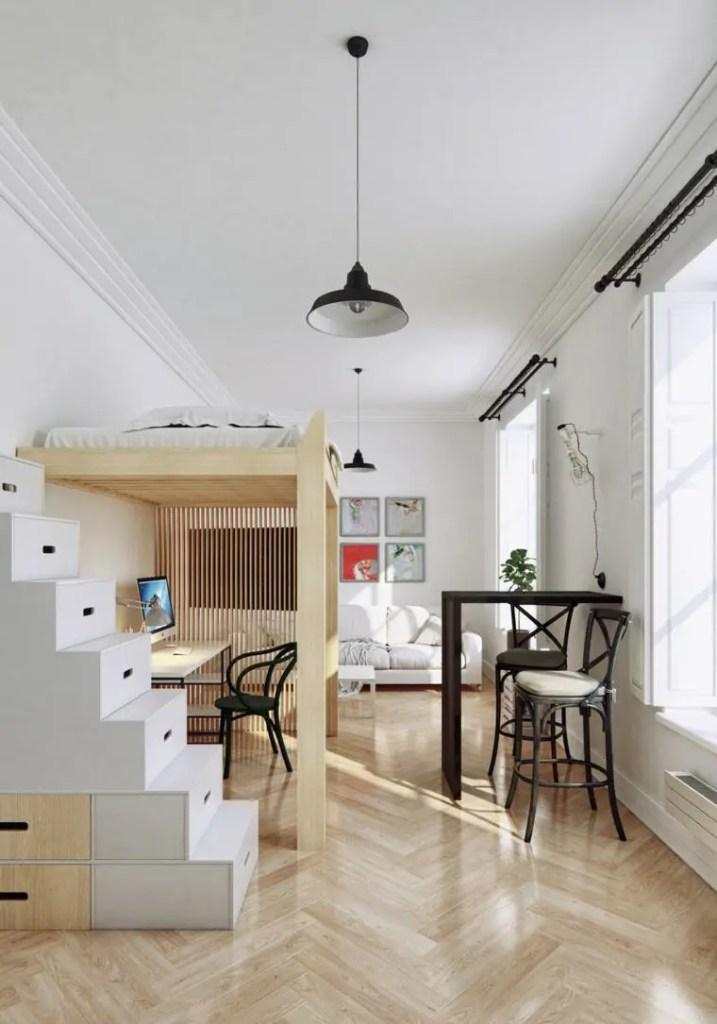 aménagement d'un petit espace, cloison ajourée
