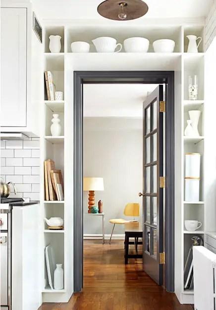 aménagement d'un petit espace, rangement autour d'une porte