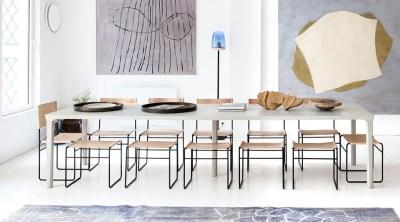 Table en béton ciré sur-mesure, tabourets et chaises en cuir réalisés sur-mesure