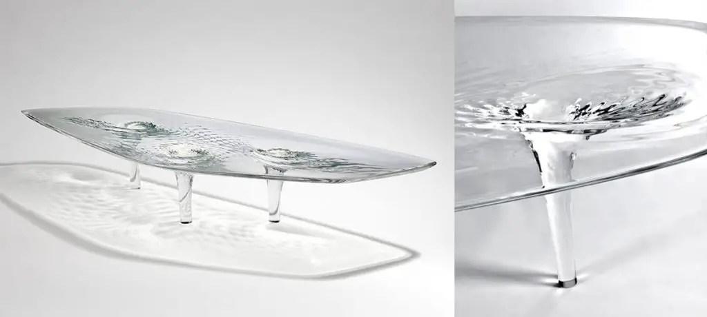Pieds de table design effet eau gelée